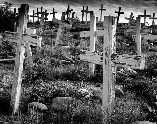 Possibly the finest image I made in the desert in my early years of exploration, this image of a mission graveyard was made south of Farmington, New Mexico with the Minolta's black-and-white mode selected.