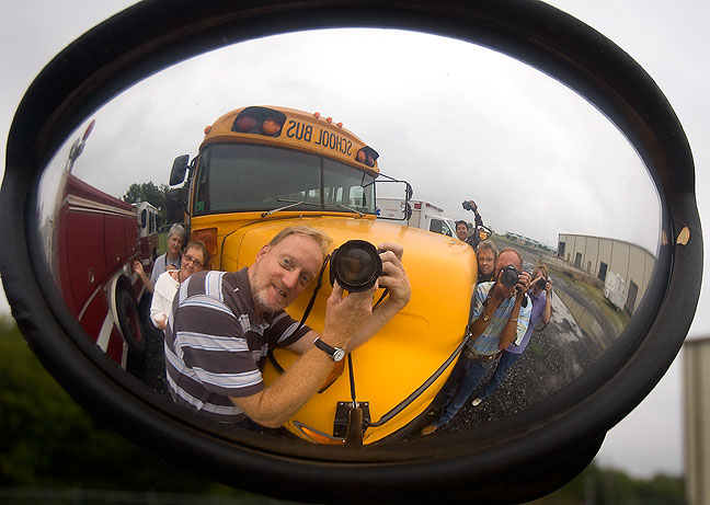 You can see all seven of us in this image, made in the mirror of an old school bus.