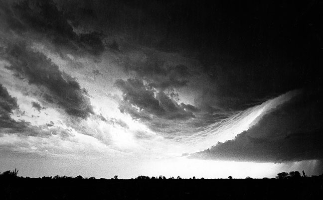 Wall Cloud with inflow, Chimney Hill south of Ada, Oklahoma, spring 1998