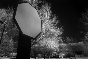 Stop sign and trees made with my Nikon/Kodak DCS720x, which I recently modified to be an infrared camera.