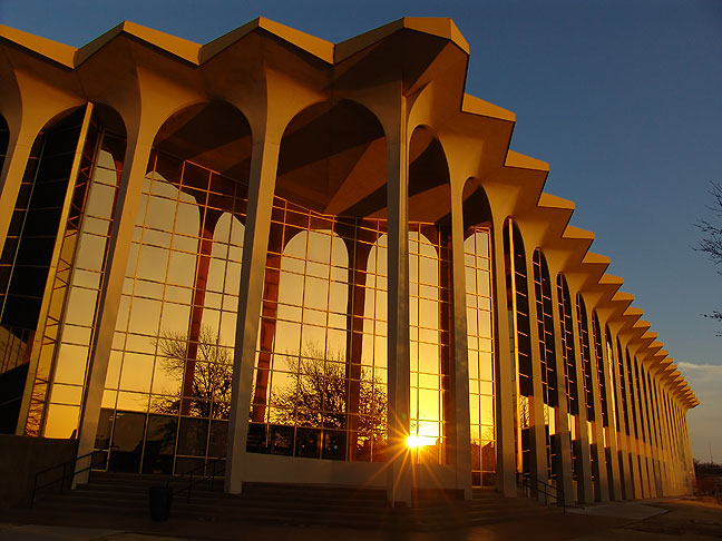 The main building at Oral Roberts University; at midday, this is a fairly interesting structure to photograph, but at sunset, it is amazing. Be aware that security at ORU does not want you to photograph these buildings, although it is not posted.