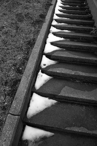 Snow on concrete steps; I felt black-and-white was the only way to render this bleak scene.