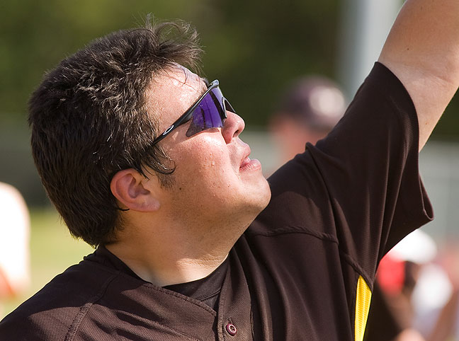 "Unable to hold back his emotions, this Roff Tigers baseball player who goes by the nickname ""Turtle"" waves to the crowd of Tigers' fans at Dolese Youth Park in Oklahoma City May 7, 2011, after Roff won the class B state baseball championship game."