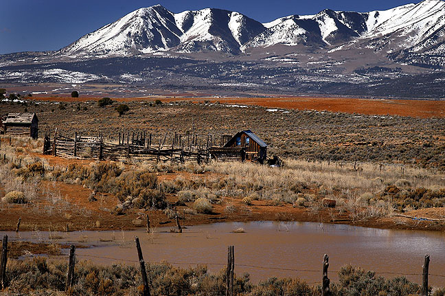 Abajo Mountains and ranch from near the Utah-Colorado border, March 2004; Michael Zeiler and I stopped to shoot this on our way from Farmington, New Mexico to Moab, Utah, and promptly got his Honda Element stuck in mud from snowmelt. Despite the hardship and the beauty of the moment, not a top five contender.