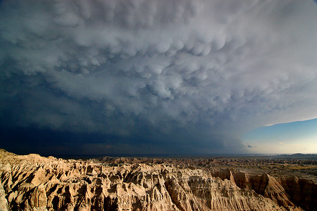 "Clearing thunderstorm with mammatocumulus clouds, Badlands National Park, South Dakota, July 2005; this has a big ""wow"" factor, yet still doesn't climb into the top five."
