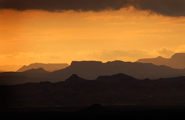 David Martin and I were almost drowned by a flash flood less than an hour before I made this image of sunset at Big Bend National Park in Texas, March 2007. This one came close to the top five.