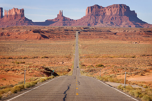U. S. 163 looking south toward Monument Valley, Utah, October 2006; everyone who has approached Monument Valley from the north has this image. It's an American classic, and this one is mine. That doesn't, however, make it a top five contender.