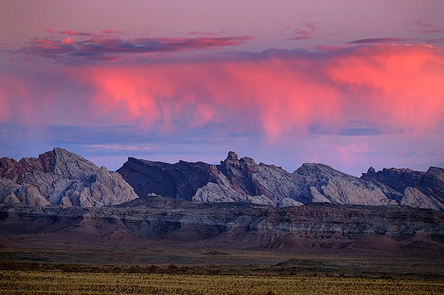"Clouds over the San Rafael Reef, Utah, prior to sunrise, October 2008; like a lot of my images, this one was an ""I have to stop and shoot this"" picture on my way from one place to another. Though it is unusual and strikingly beautiful, it didn't make the top five."