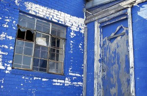 Royal blue walls, door, and window, made this auto repair shop south of downtown Oklahoma City which we photographed in August 2001, very visually interesting.