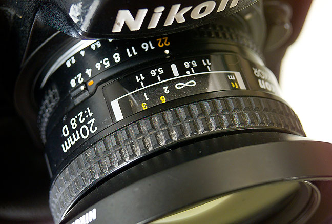 The AF Nikkor 20mm f/2.8 is instantly at home on my Nikon D2H.