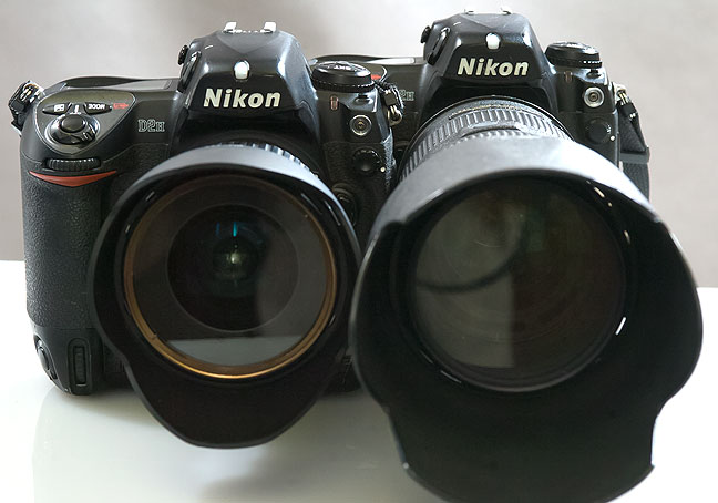 The big guns: two Nikon D2H digital SLR cameras, one with Tokina 12-24mm f/4, the other with a Nikkor 80-200mm f/2.8.