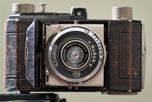 This Kodak Retina camera is one of the photography relics my wife bought for me a couple of years ago. It takes a roll film that hasn't been made in about 40 years.