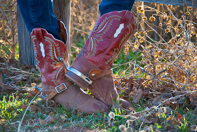 Abby's sister Gail was riding her horse Abe when we called, and didn't take off her spurs, so I asked if I could photograph her boots.