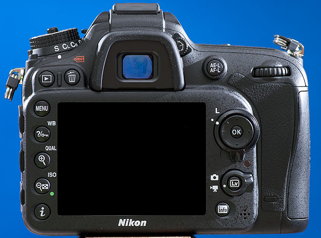 "This rear view of the Nikon D7100 shows the control layout, including the ""live view"" button for making high-definition video."