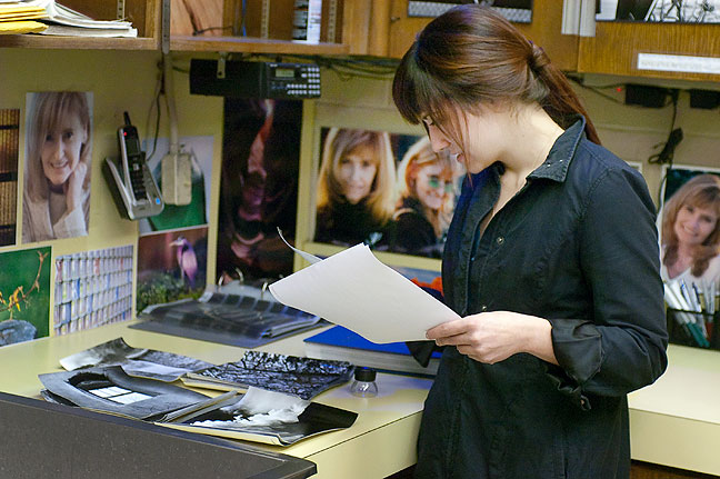 Micheali, who preferred that I did not included her last name, looks over some of my 6x7 prints. I am very pleased when I learn that photographers from her generation are interested in film and medium format photography.