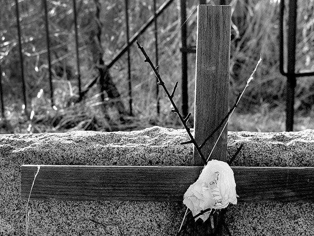 This is my image of a wooden cross on a grave marker at Violet Cemetery after editing with the channel mixer and the levels dialog.