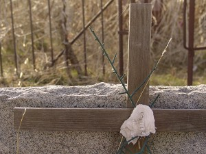 This is my image of a wooden cross on a grave marker at Violet Cemetery in Konawa, Oklahoma, as it came out of the camera, with no editing.