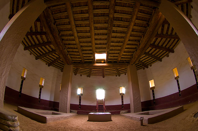 Aztec Ruins National Monument's restored great kiva, shot with my Tokina AT-X 10-17mm  f/3.5-4.5 Fisheye lens.