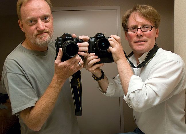 Robert Stinson, right, and I pose with our fisheye lenses, my Tokina 10-17mm, and his Nikkor 10.5mm.