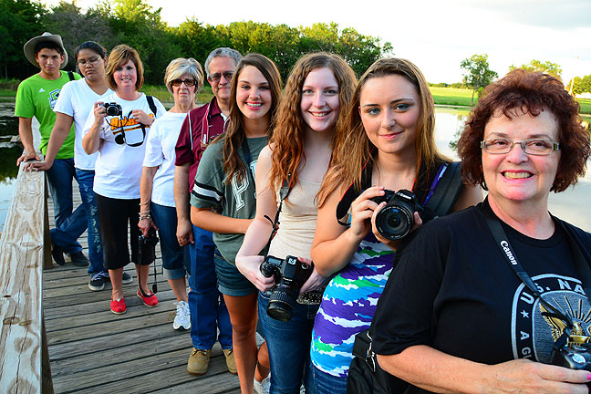 We all pose for a group photo on the bridge over the pond at the Pontotoc Technology Center last night. The evening light was outstanding.