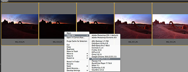 I selected five frames from my sequence, loaded them into Adobe Bridge, then told Bridge to open them in Photomatix Pro.
