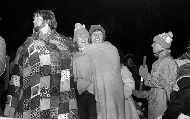 This was made on a memorably cold, rainy night at a playoff football game in November 1980. Shot with direct flash on Plus-X, it fails to capture the rain falling, or that bright-and-dark stadium light that so many of my football images in my career exhibit.