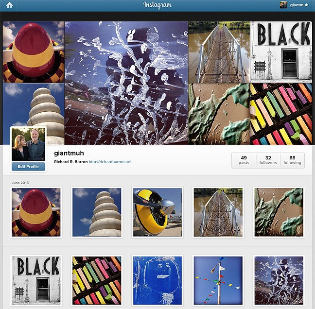 This is the desktop view of my Instagram profile. The smartphone/tablet view is significantly simplified.
