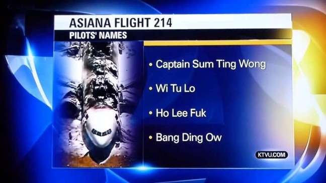 This screen capture of a television station's on-air list of prank names they received is a classic example of the public and the news media having absolutely no patience or concern for accuracy. And it is, by the way, incredibly funny to this day.