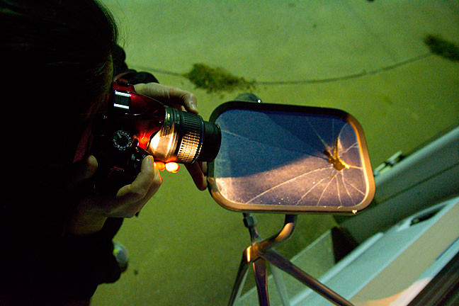 As darkness arrived, we worked by streetlight, as in the case of photographing this broken mirror on an old ambulance.