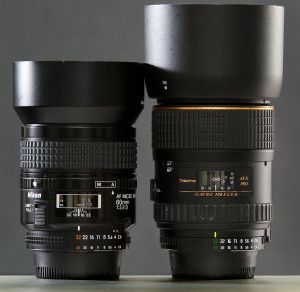 These are my macro lenses, the AF Nikkor 60mm f/2.8, and the Tokina 100mm f/2.8. Both are excellent, sharp, fun-to-use lenses.