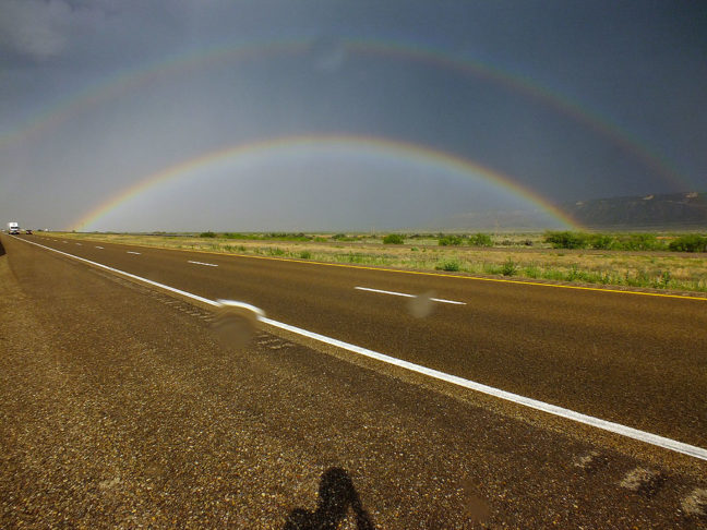 Nothing about your gear is as important as your willingness to make pictures even in adverse conditions, like this New Mexico rainbow I shot in a blowing rain. You can ever see raindrops on the lens, but the message of the beauty of the moment is still conveyed.