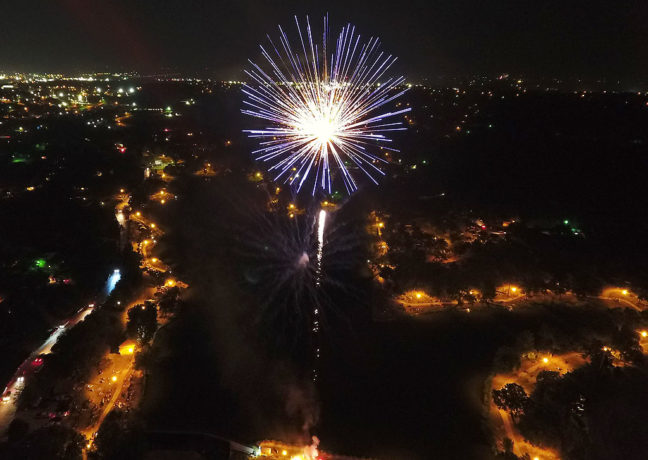 As I was photographing fireworks, I saw a drone above Wintermith Lake. This morning, I had a CD from the operator, Tony Matthews, with some of his photos from the drone, including this one.