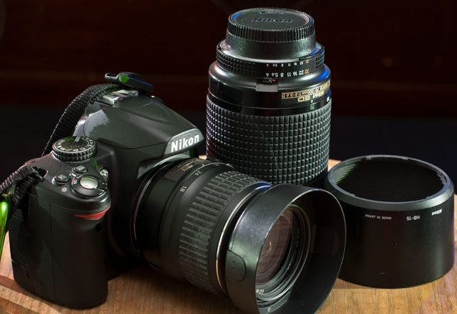 "Most of the people in my classes are equipped with this type of gear: a ""kit."" This is my wife's Nikon D3000, an 18-55mm f/3.5-5.6, and a 70-300mm f/4-5.6. In the right hands, a kit like this is capable of amazing things."