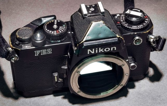 This is the Nikon FE2 at the end of its life in 2003, right before I sold it.