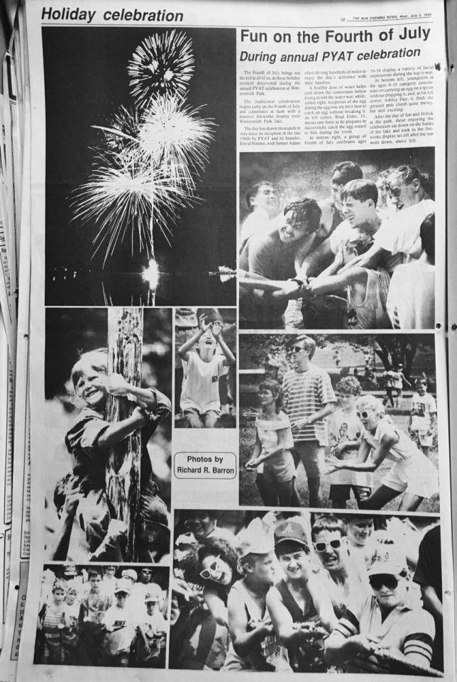 "I dug around in the morgue and found this page, my first opportunity to cover Ada's July 4 fun, 1989. ""PYAT"" in the headline refers to the long-defunct group Proud Young Americans for Truth."