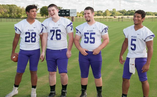 The Coalgate senior football players share a laugh at their team's media day last week.