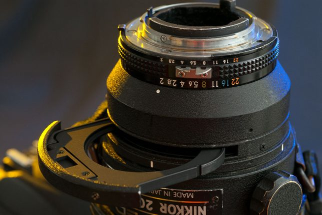 The Nikkor 200mm f/2 is equipped with a tray to hold a gelatin filter, which I have never used. Note the build quality of body and aperture ring, constructed in the era before plastic, massed-produced lenses became the norm.