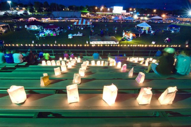 Luminaries glow at Relay for Life 2014 at Ada High School Friday, May 30, 2014. Made with one of my D200 cameras, color, contrast, and sharpness are all excellent.