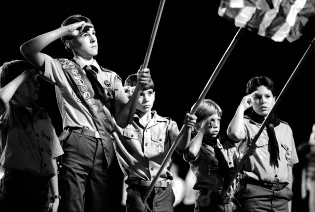 "I made this image of Boy Scouts presenting the colors at an Ada Cougars home football game at Norris Field in my first week at The Ada Evening News, in October 1988. It later placed in the Oklahoma Press Association's Photo of the Year contest in the ""character study"" category."