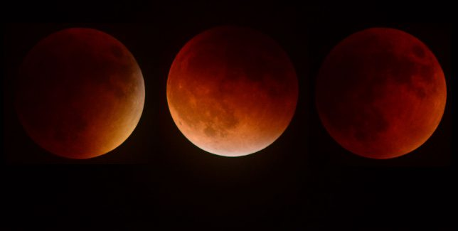 The moon takes on various shades of amber during the September 2015 total lunar eclipse. The dim, red light is created by sunlight refracting through earth's atmosphere.