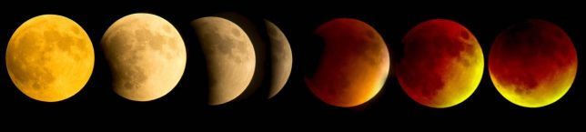 This is an assembled composite from seven images made at 20-minute intervals of the Sunday, Sept. 27, 2015, lunar eclipse.