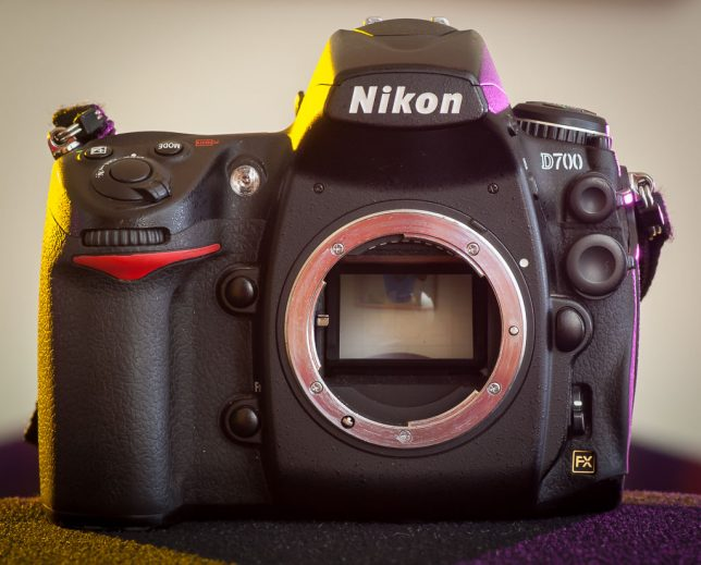 My well-used Nikon D700 sits in my studio recently. I have no problem buying used cameras with a lot of cosmetic wear, since I'm going to start using them, not admiring them, immediately, and in the process will create lots of of cosmetic wear of my own.