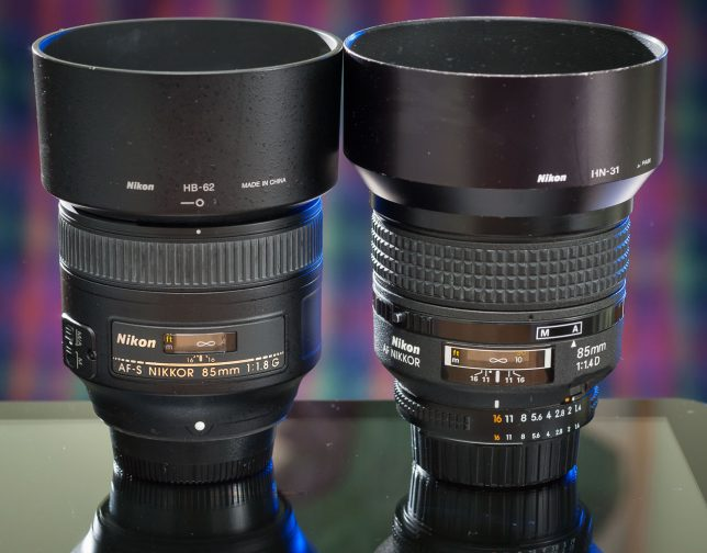 The AF-S Nikkor 85mm f/1.8 and the older AF-D Nikkor 85mm f/1.4 are nearly identical in size, and it's a great fit in my hands, but the f/1.4 is very noticeably heavier, undoubtedly because the f/1.8 uses a lot of plastic in its construction.