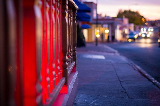 Santa Fe Plaza, dusk, October 2019; 50mm f/1.4 at f/1.4.
