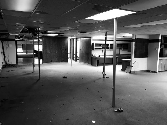 In the fourth quarter of last year, my newspaper moved, and things have been weird ever since. This image shows the old newsroom now that the building has been listed for sale. I worked 31 years in that newsroom.