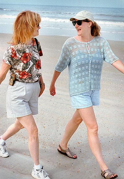 Abby and Nicole walk Flagler Beach near Palm Coast, Florida in 2003, very near where Mom lives and Nicole is headed.