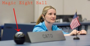 Michelle behind the eight ball