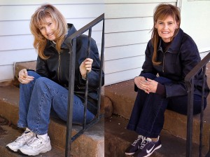 Abby on the front porch of the house in November 2003, and today