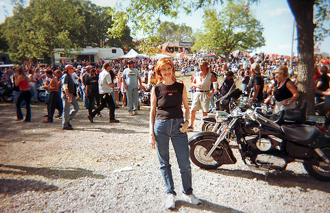 Abby at a Harley Rally, c. 1996