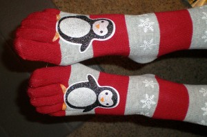 Here are Abby's toe socks. I don't know why she decided to wear them tonight, but I can tell you that they have penguins on them.